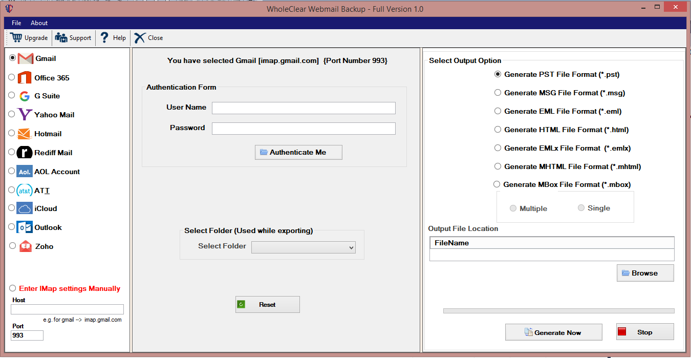 WholeClear Webmail Backup Software