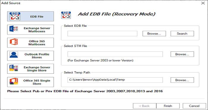 WholeClear Restore Exchange Backup Tool full screenshot