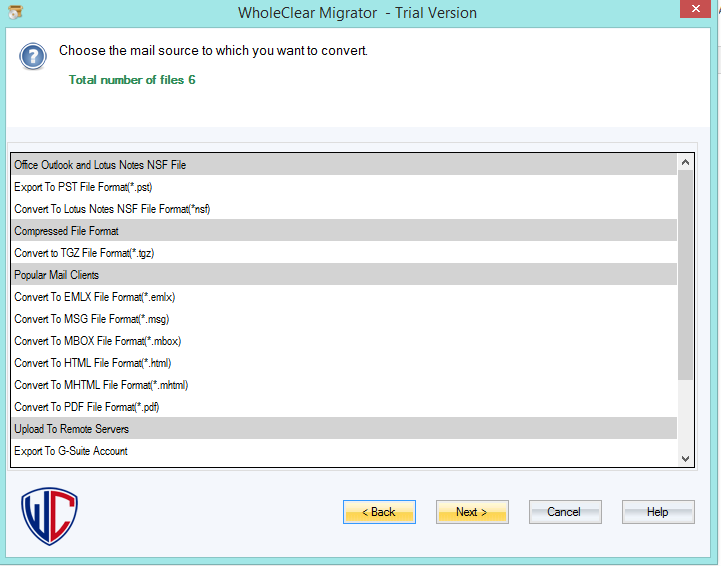 WholeClear EML to Hotmail Converter full screenshot
